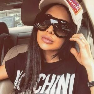 Accessories - Black Oversized shield sunglasses